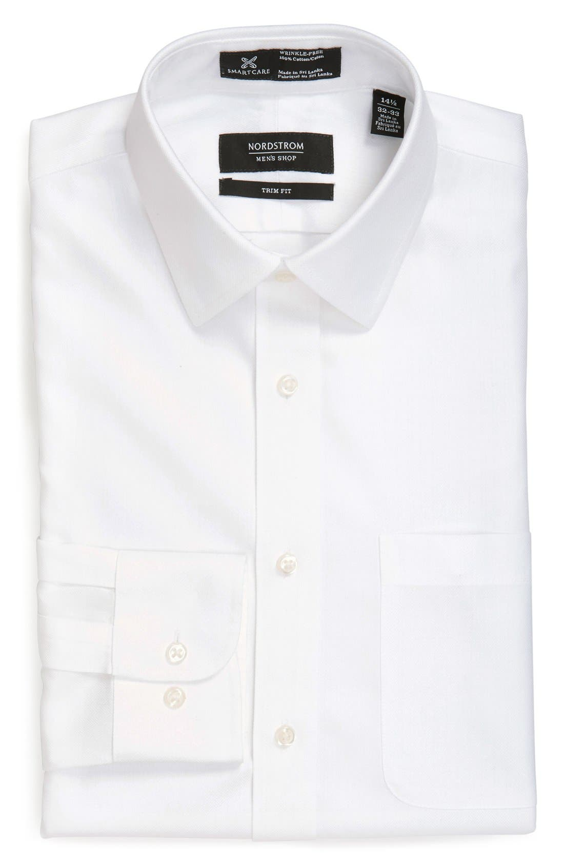 Nordstrom Men's Shop Smartcare™ Trim Fit Herringbone Dress Shirt