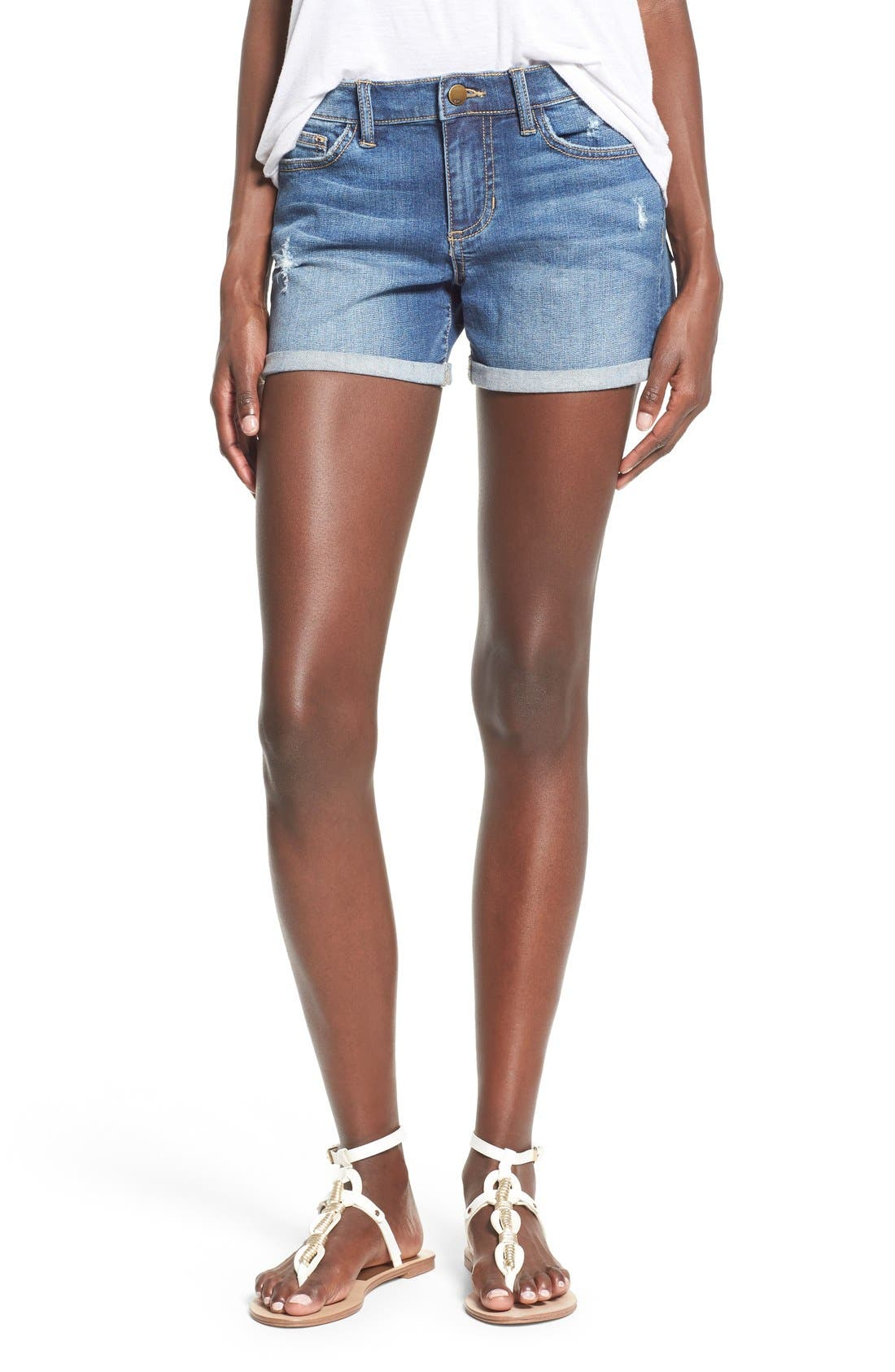 Alternate Image 1 Selected - SP Black Rolled Denim Shorts