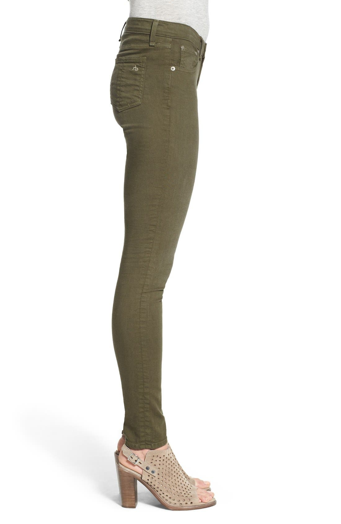 Alternate Image 3  - rag & bone/JEAN Skinny Jeans (Distressed Army)