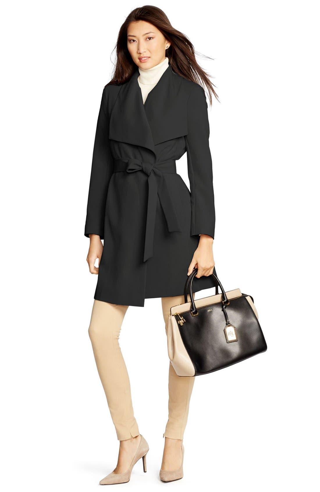 Alternate Image 4  - Lauren Ralph Lauren Belted Drape Front Coat