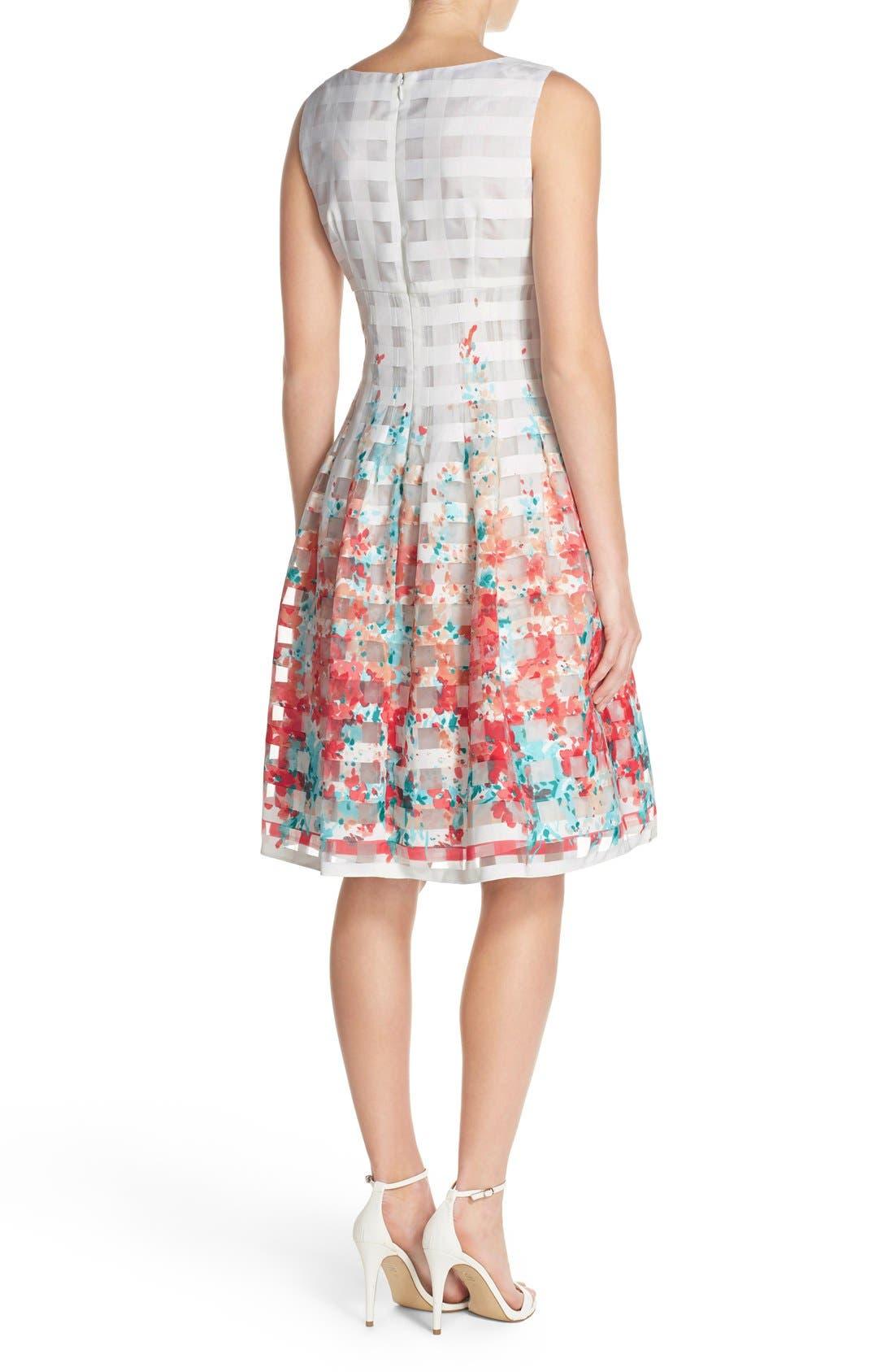 Alternate Image 2  - Chetta B Floral Organza Fit & Flare Dress