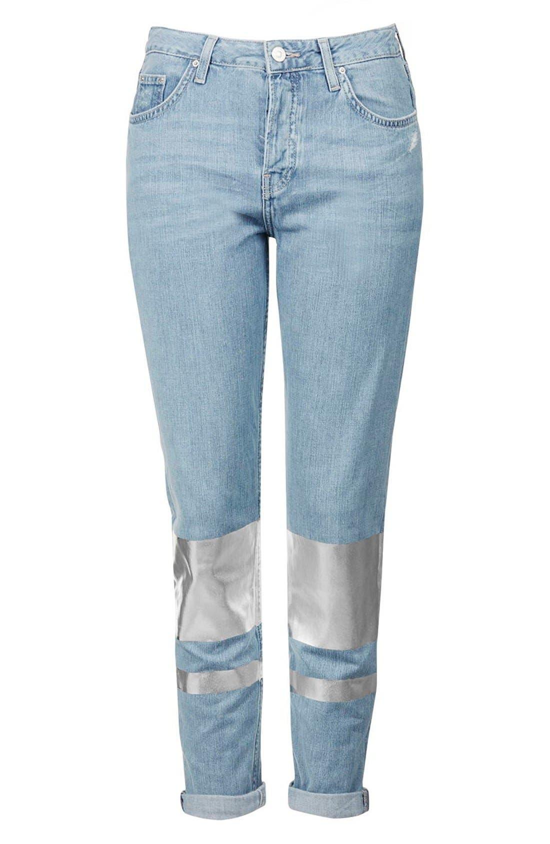 Alternate Image 4  - Topshop Silver Stripe Hologram Crop Boyfriend Jeans (Light)