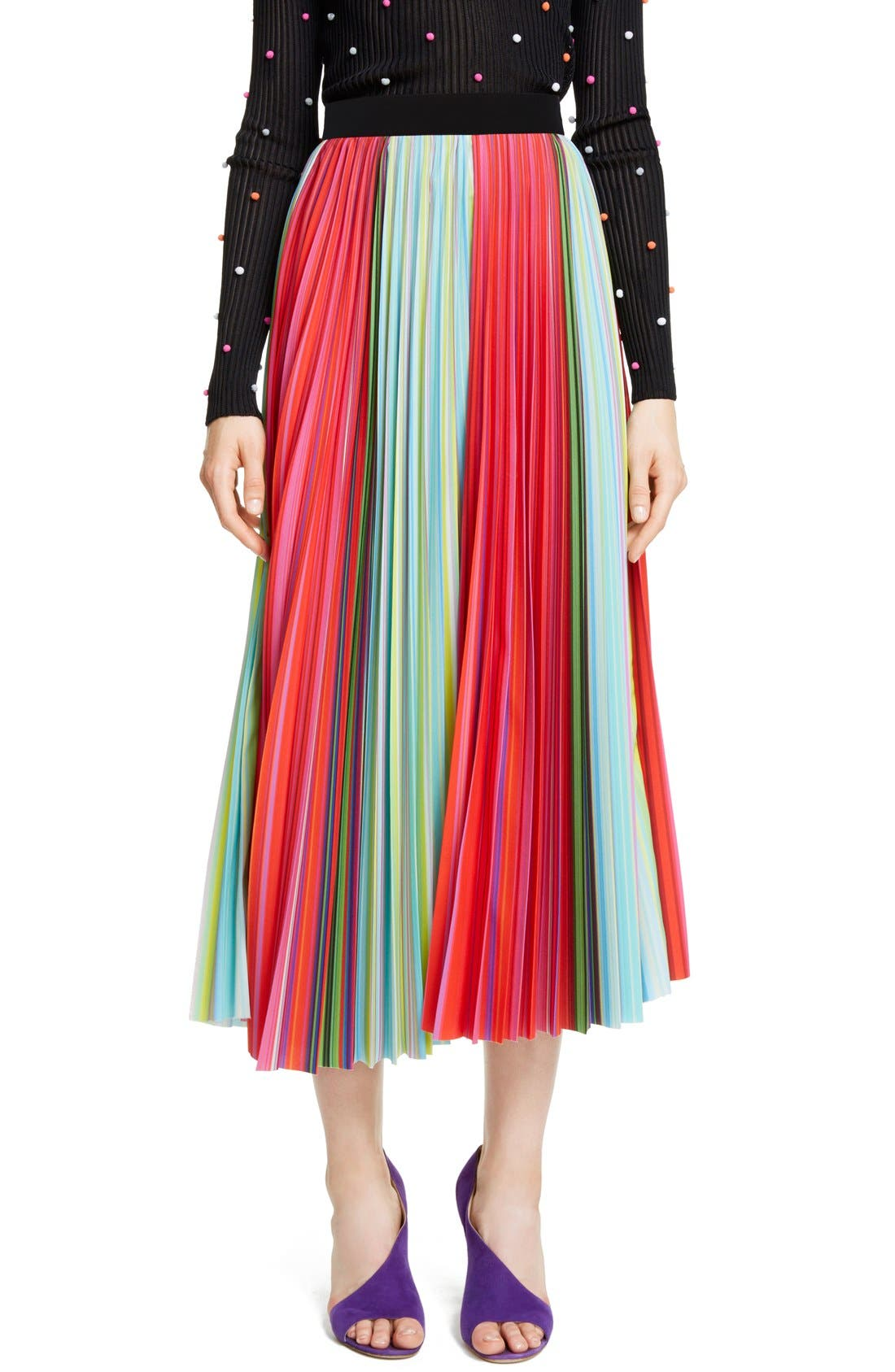 Main Image - Mary Katrantzou Pleated Rainbow Stripe Midi Skirt