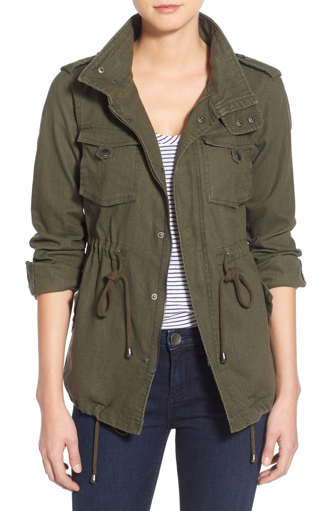 Alternate Image 1 Selected - Pleione Linen & Cotton Blend Military Jacket (Regular & Petite)