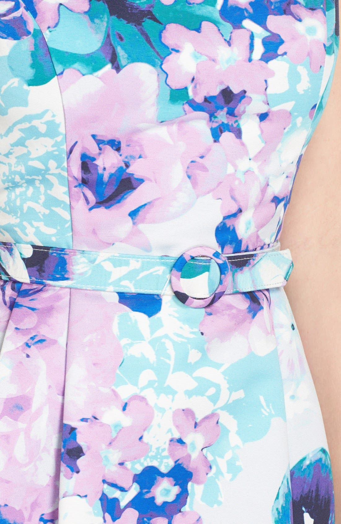Alternate Image 5  - Eliza J Belted Floral Faille Sheath Dress (Regular & Petite)