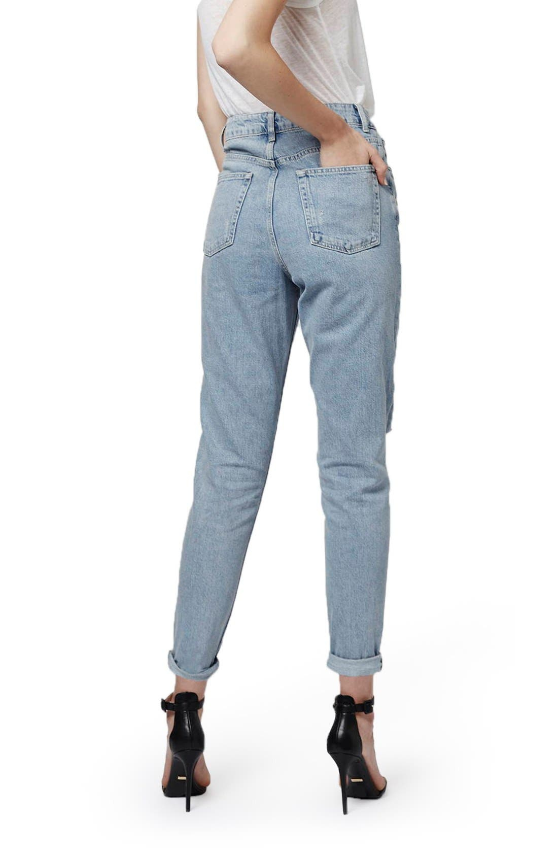 Alternate Image 3  - Topshop High Rise Ripped Mom Jeans (Regular & Petite)