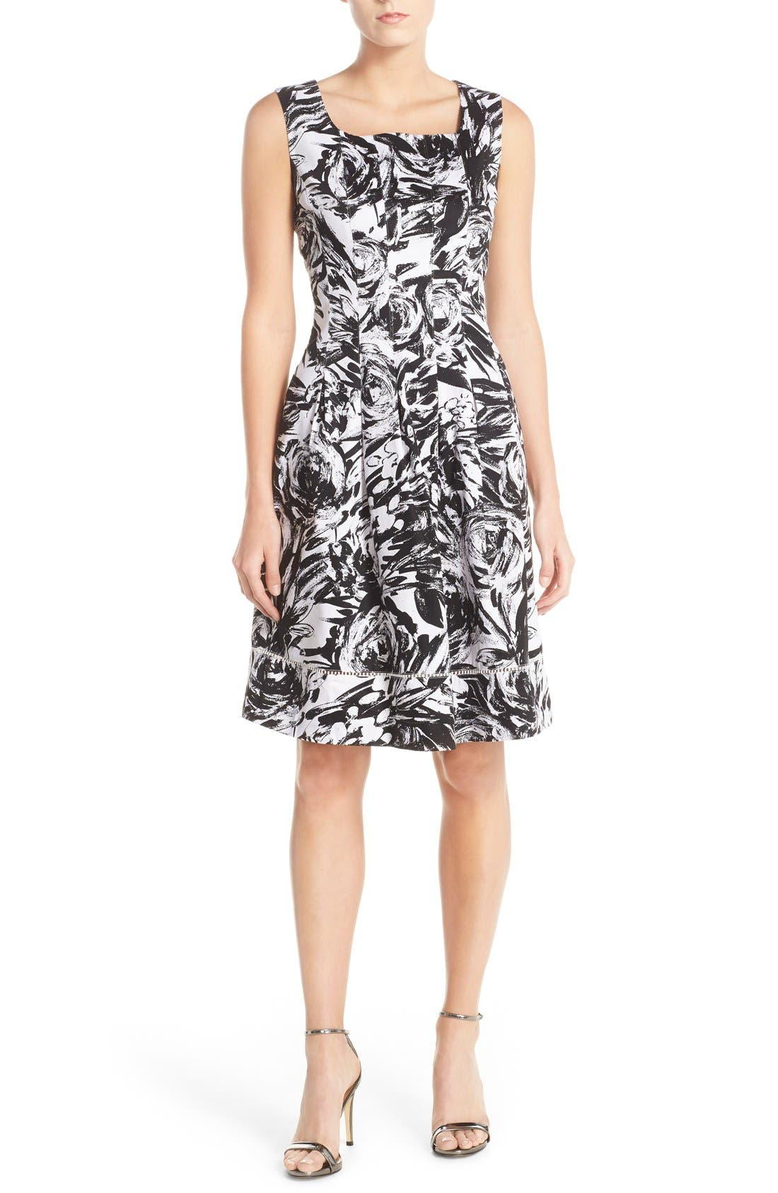 ELLEN TRACY Print Stretch Cotton Fit & Flare