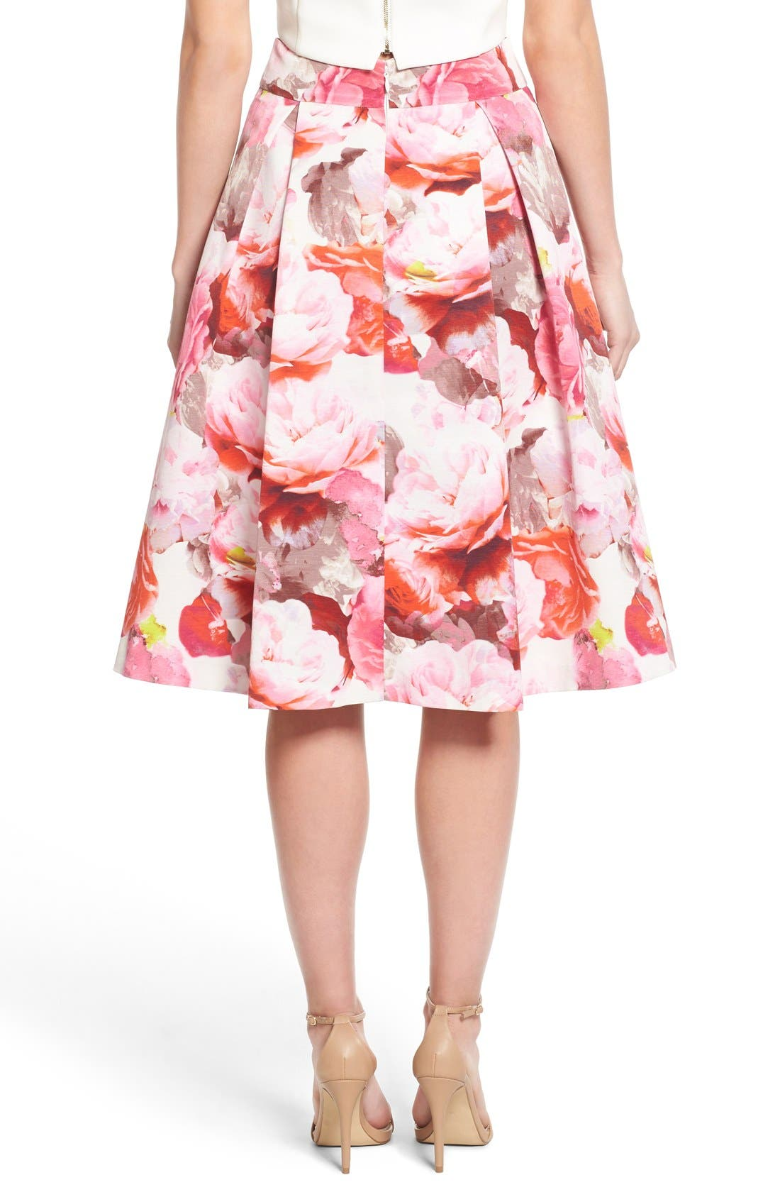 Alternate Image 2  - Eliza J Floral Print Pleated Midi Skirt