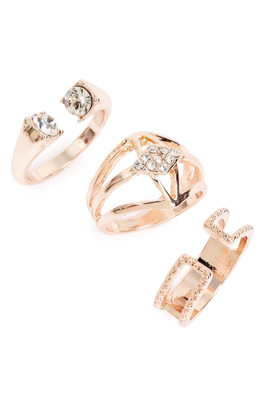 Main Image - Topshop 'Crystal Shield' Rings (Set of 3)