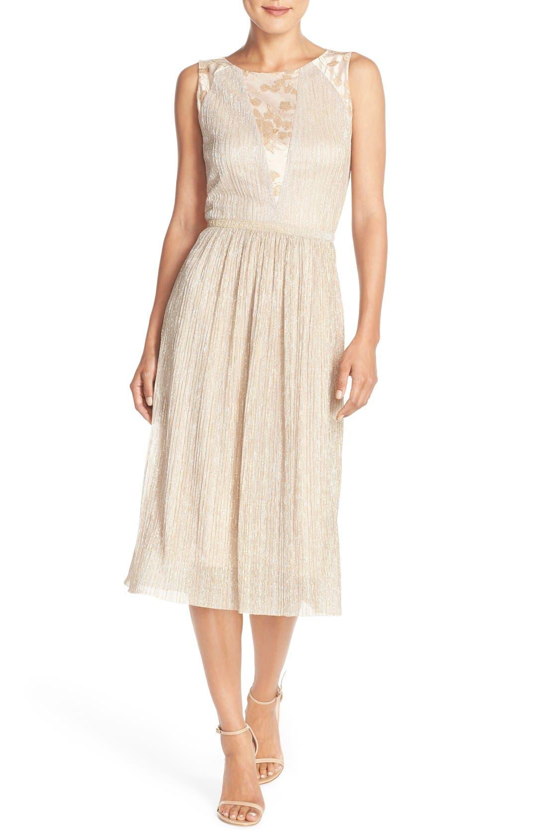 Main Image - Tahari Pleated Metallic Jacquard Illusion Midi Dress