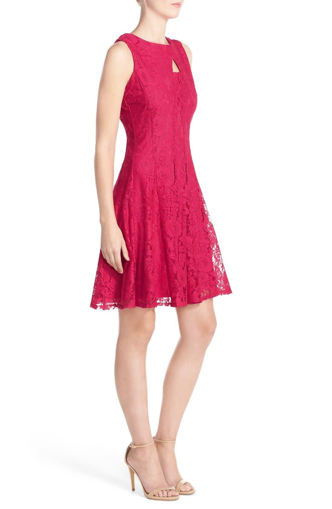 Alternate Image 3  - Gabby Skye Keyhole Neck Lace Fit & Flare Dress