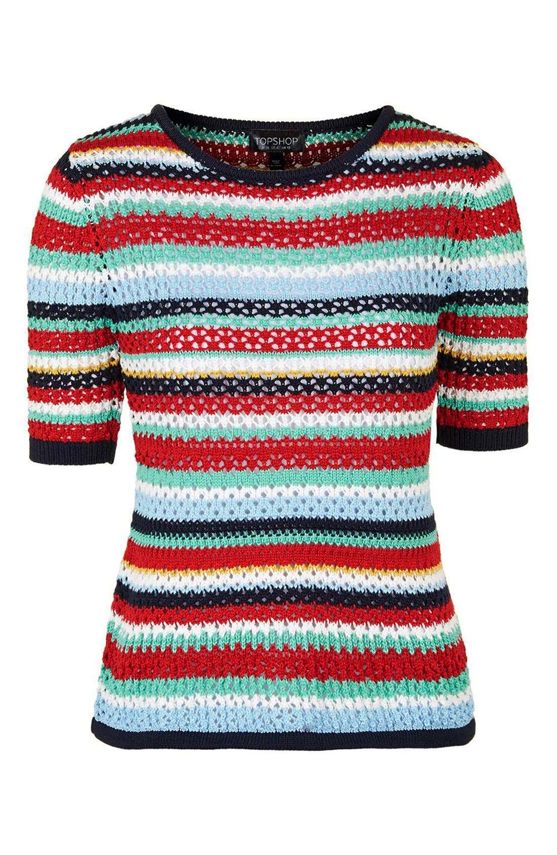 Alternate Image 4  - Topshop Multicolor Stripe Crochet Top