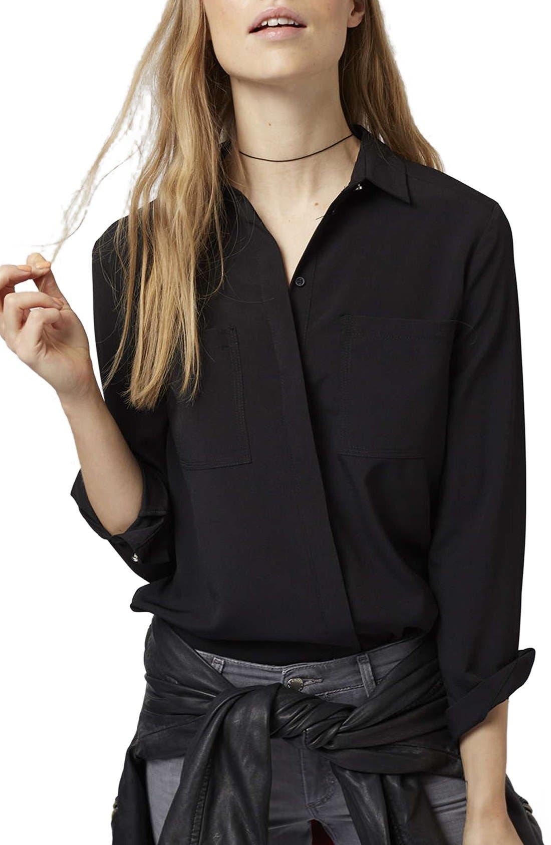 Main Image - Topshop 'Sandy Olivia' Button Down Shirt