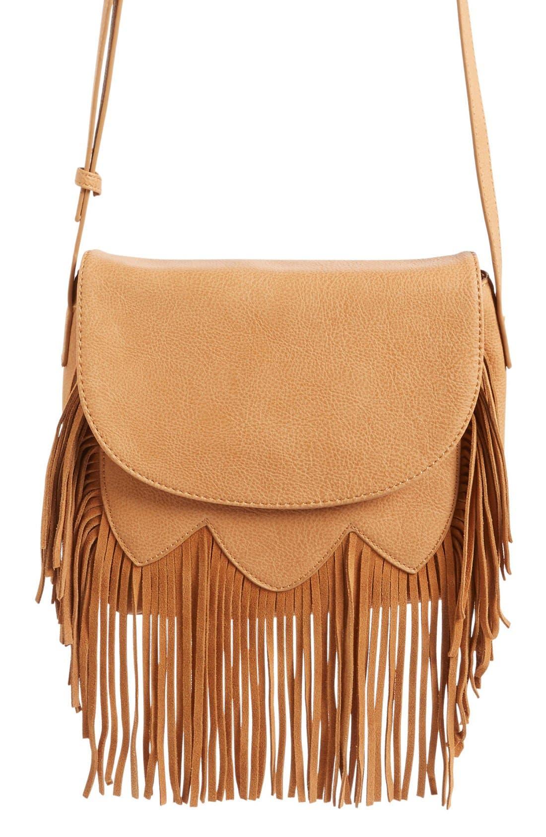 Main Image - Sole Society 'Kerry' Fringe Faux Leather Crossbody Bag