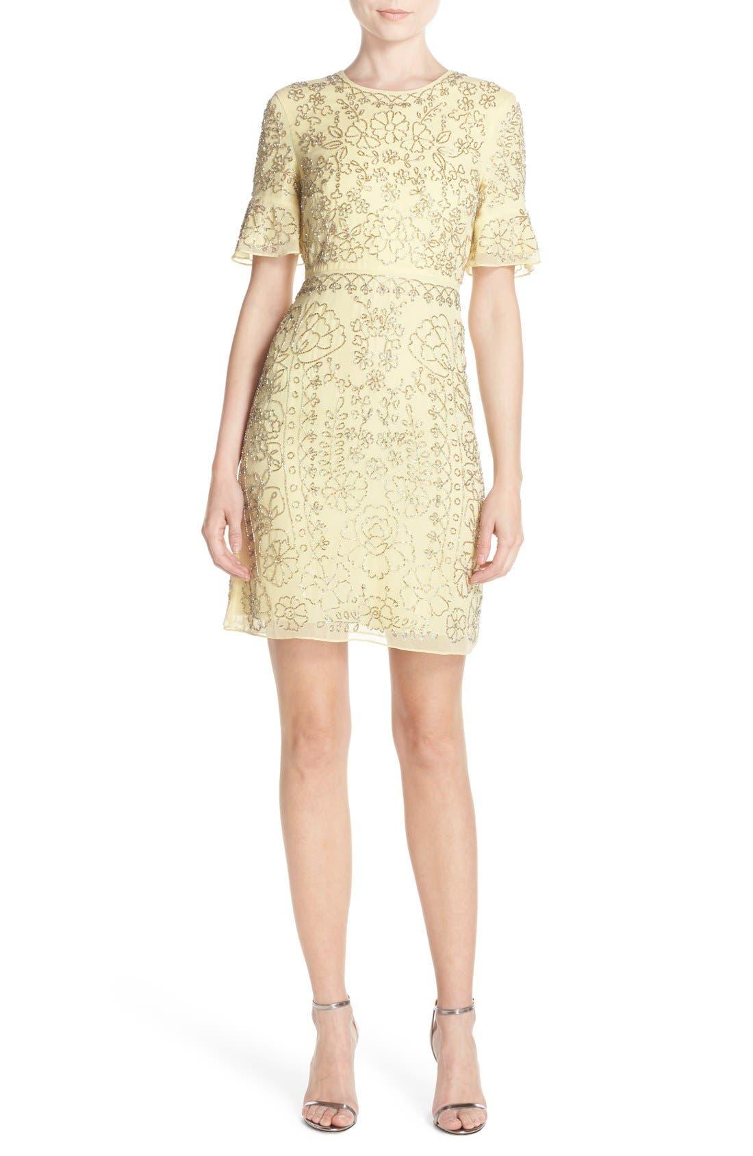Alternate Image 4  - Needle & Thread Beaded Georgette Sheath Dress