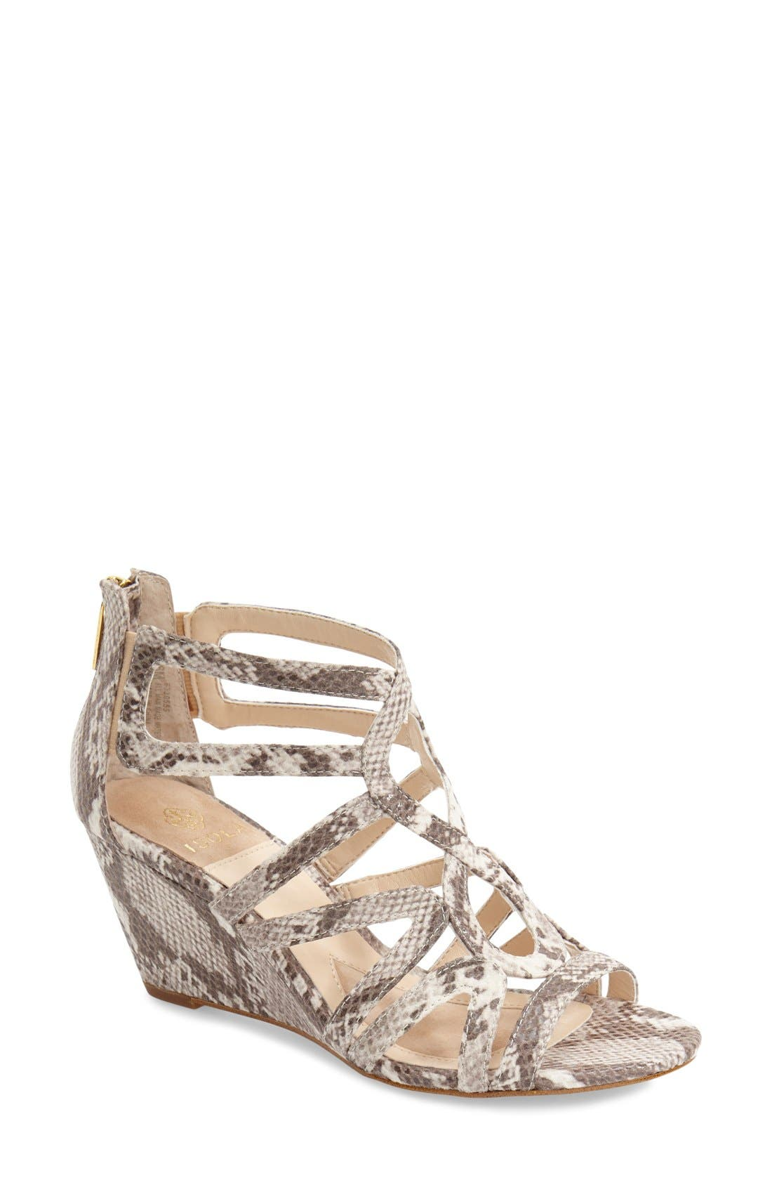 ISOLÁ 'Flora' Snake Embossed Wedge Sandal