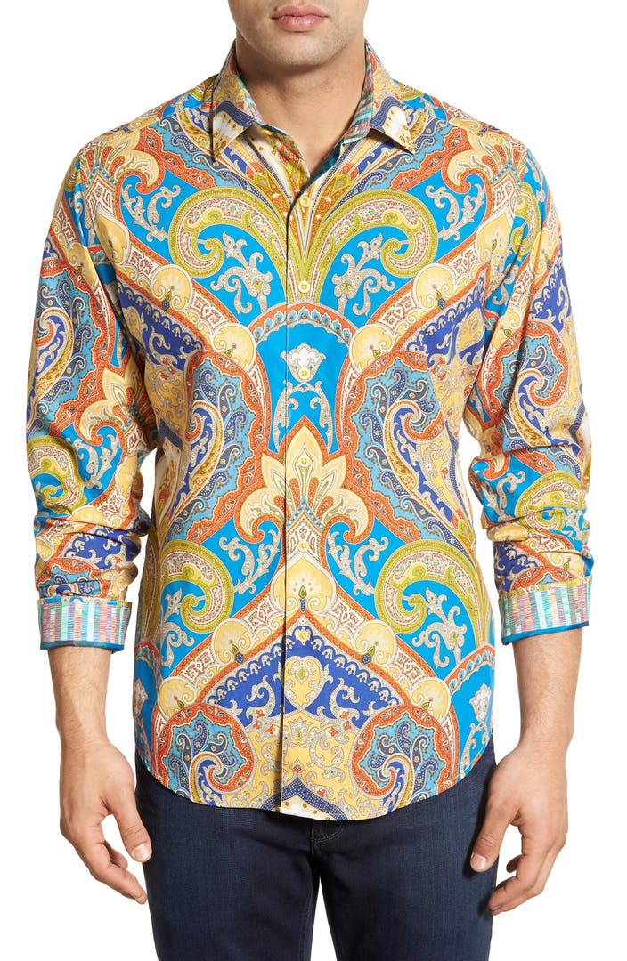 Robert graham 39 blue canyon 39 classic fit paisley print for Robert graham sport shirt