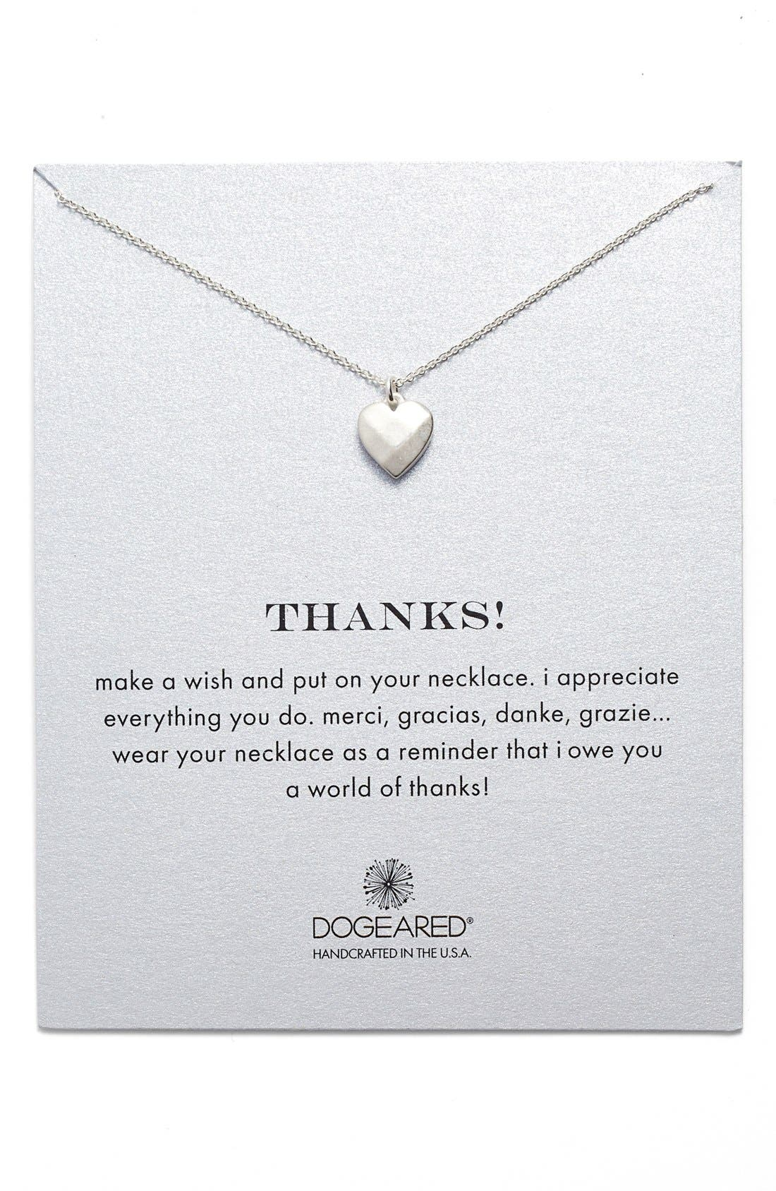 Alternate Image 1 Selected - Dogeared 'Thanks' Heart Pendant Necklace