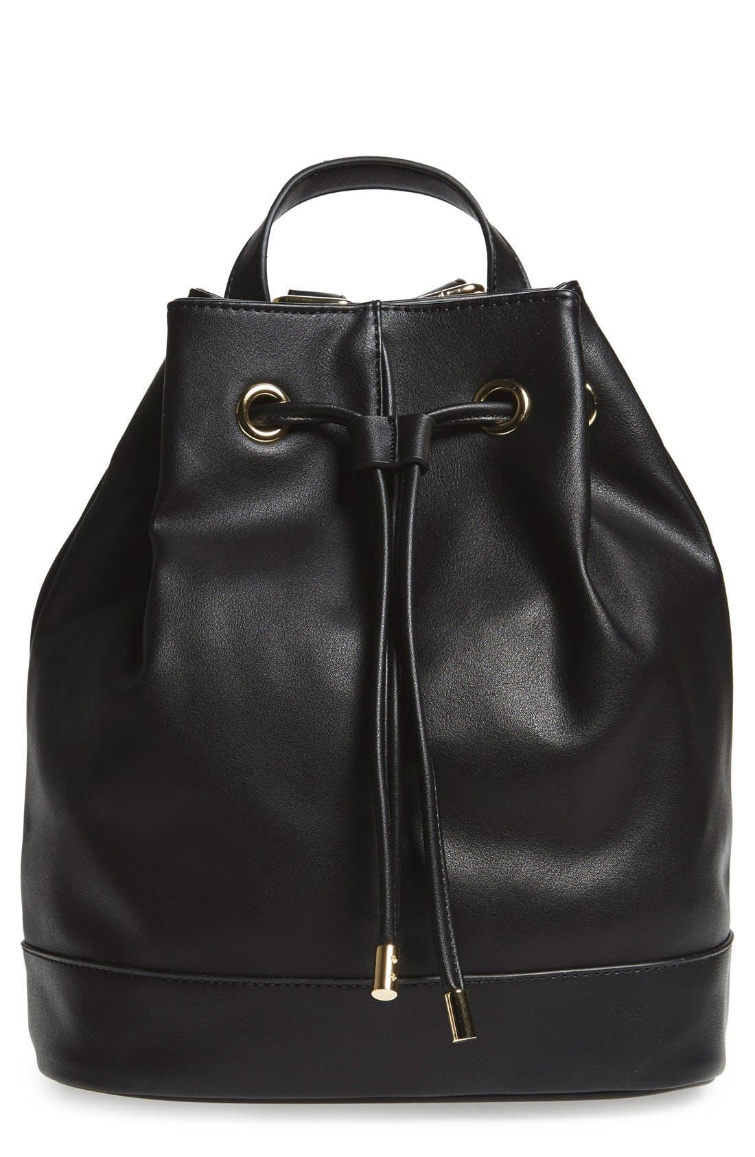 Main Image - BP. Faux Leather Drawstring Backpack