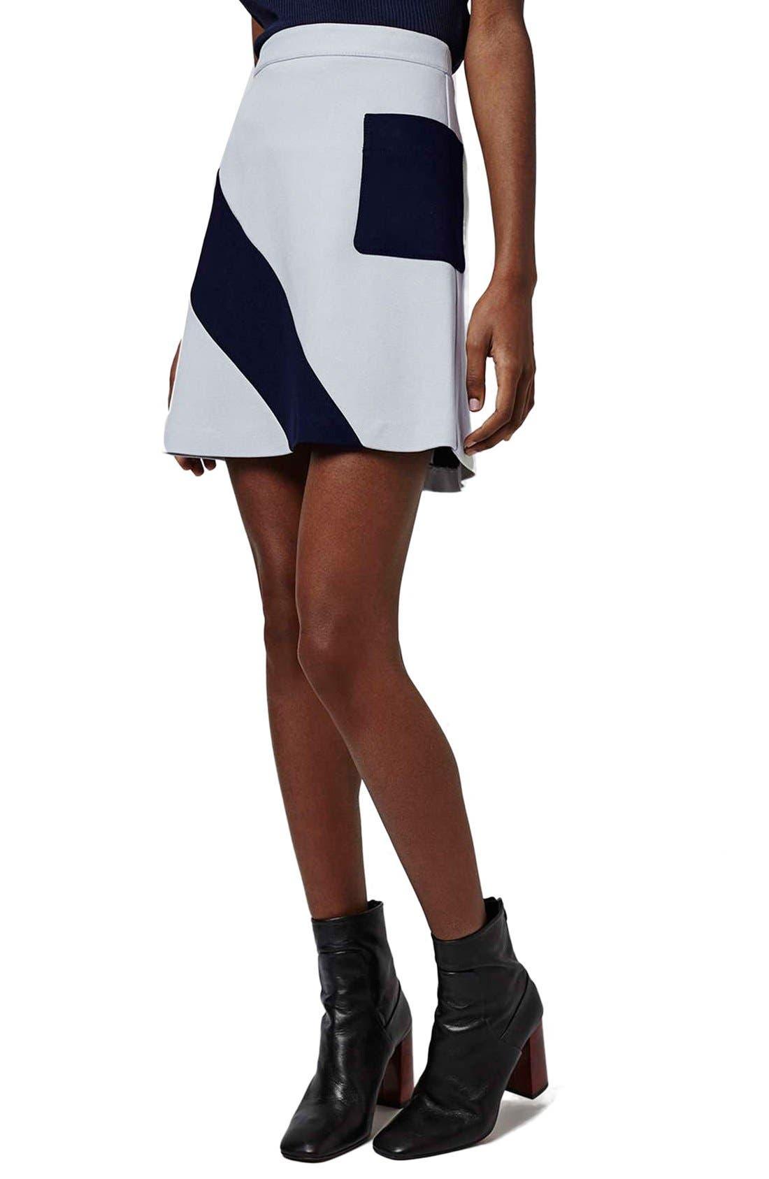 Main Image - Topshop 'Mega' Panel Crepe A-Line Miniskirt