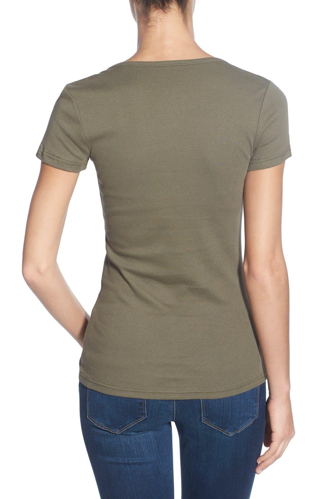 Alternate Image 2  - Caslon® Short Sleeve Scoop Neck Tee (Regular & Petite)