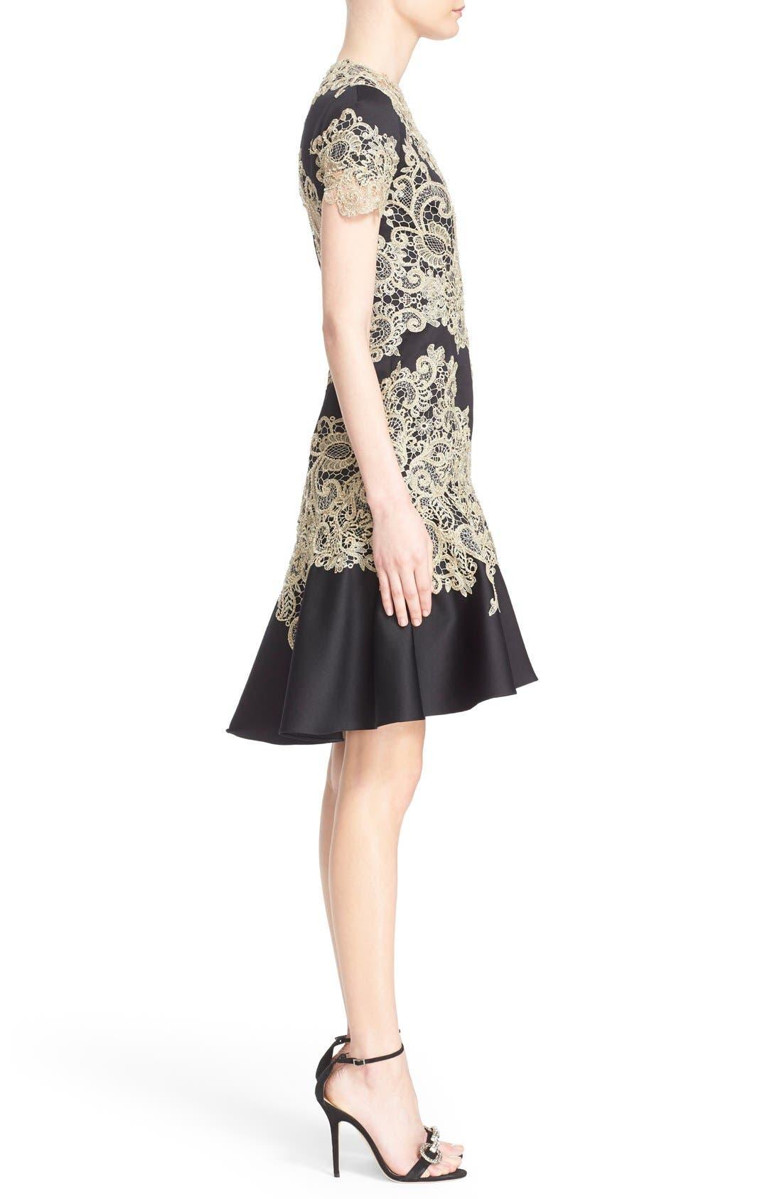 Alternate Image 4  - Marchesa Lace Appliqué Crepe Fit & Flare Dress