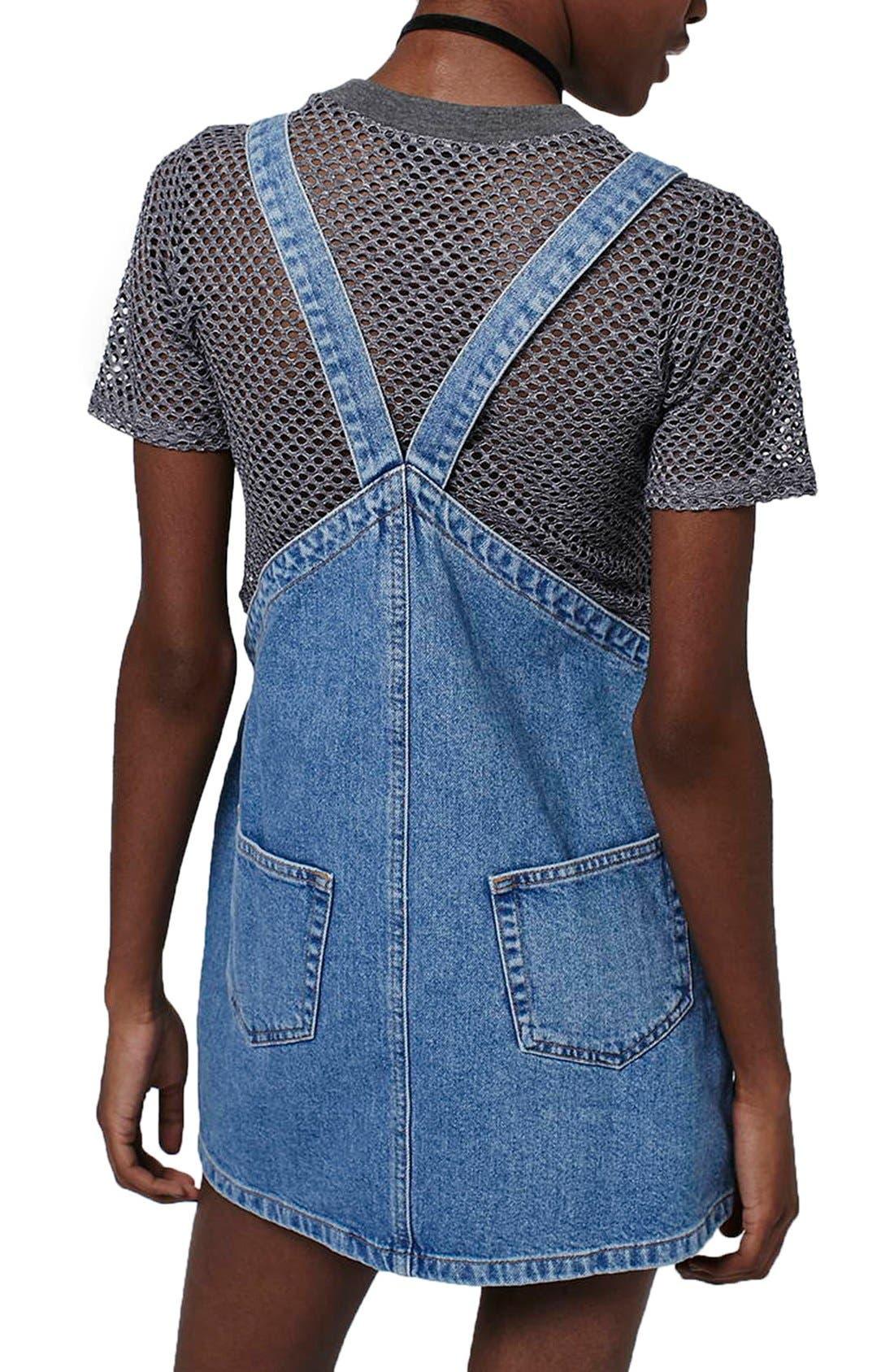 Alternate Image 2  - Topshop Denim Pinafore Dress (Petite)