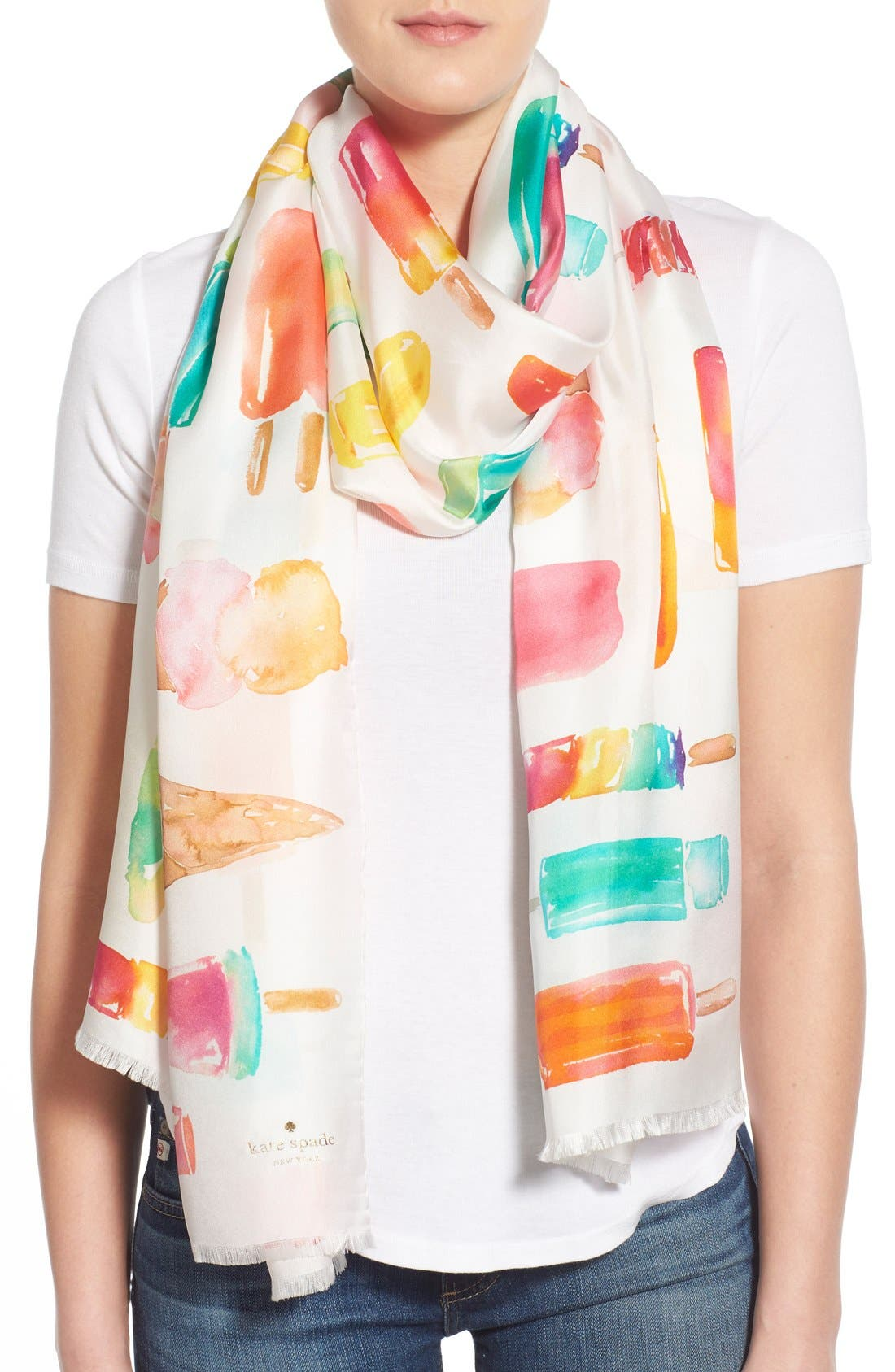 Main Image - kate spade new york 'flavor of the month' print silk scarf