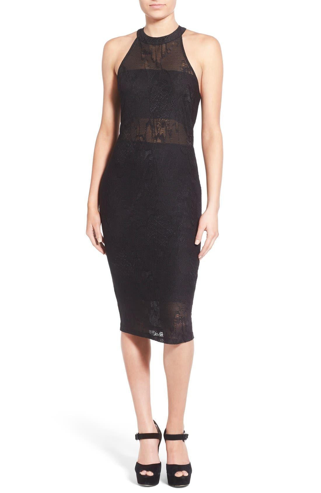Alternate Image 1 Selected - Leith Floral Mesh Overlay Body-Con Dress