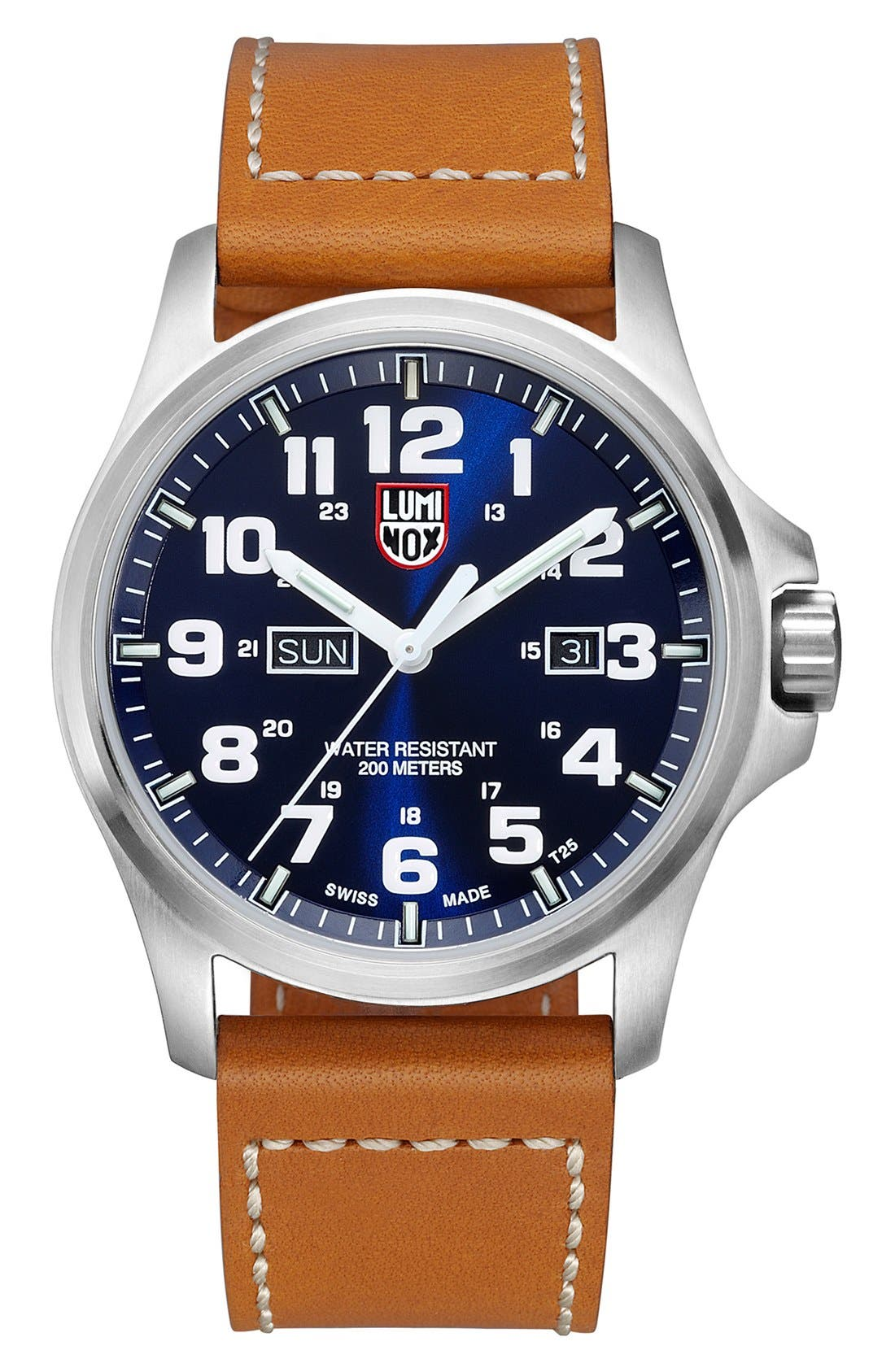 Luminox 'Atacama Field' Leather Strap Watch, 45mm