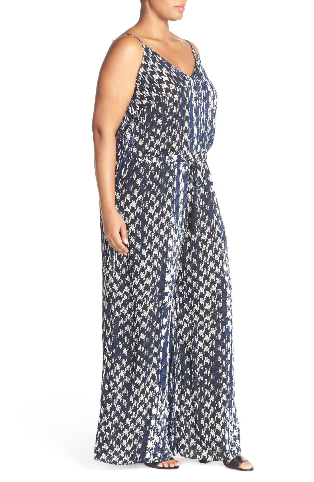 Alternate Image 4  - City Chic 'Barbed' Print V-Neck Jumpsuit (Plus Size)