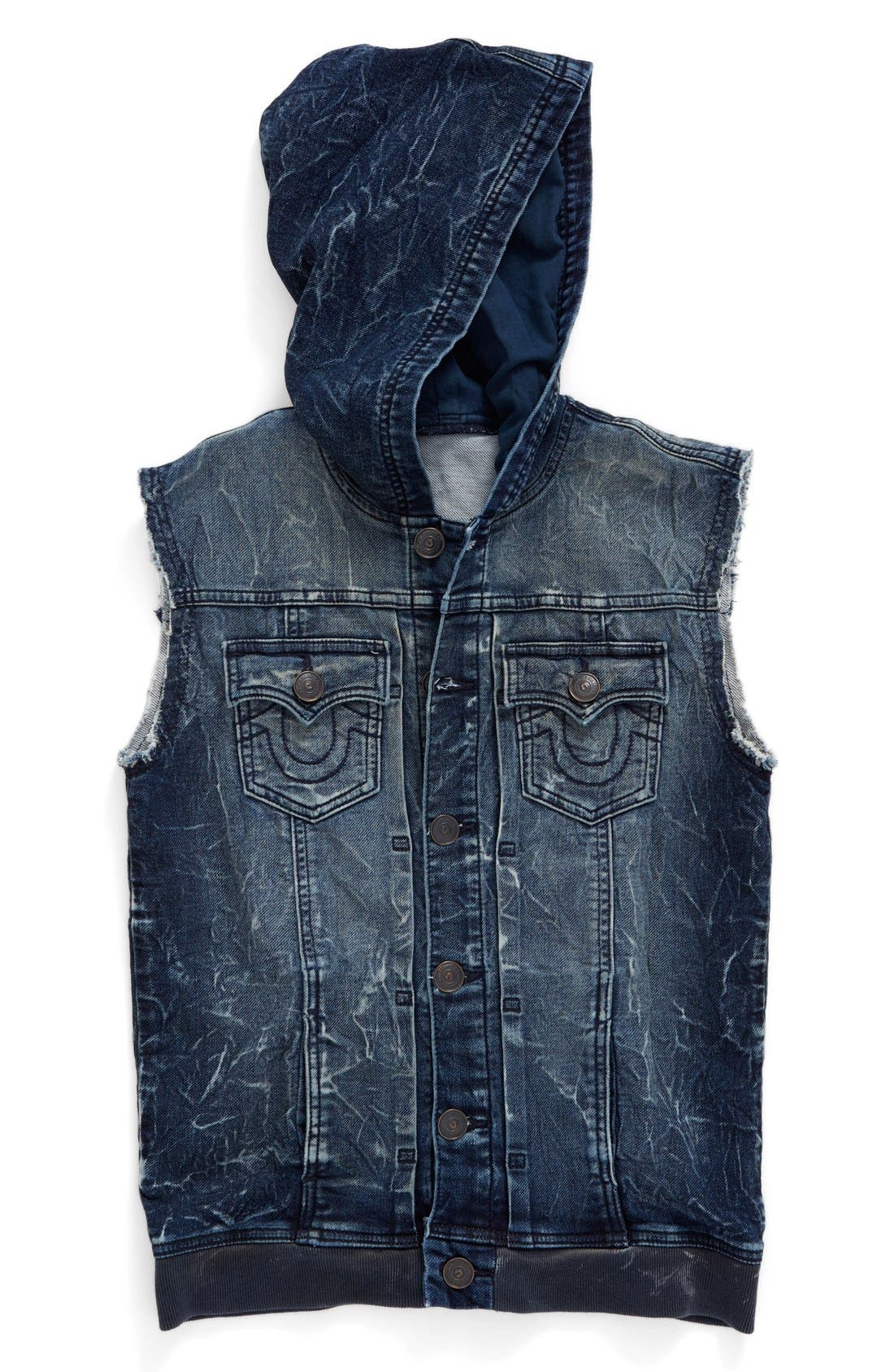 Alternate Image 1 Selected - True Religion Brand Jeans 'Dylan' French Terry Hooded Vest (Toddler Boys, Little Boys & Big Boys)