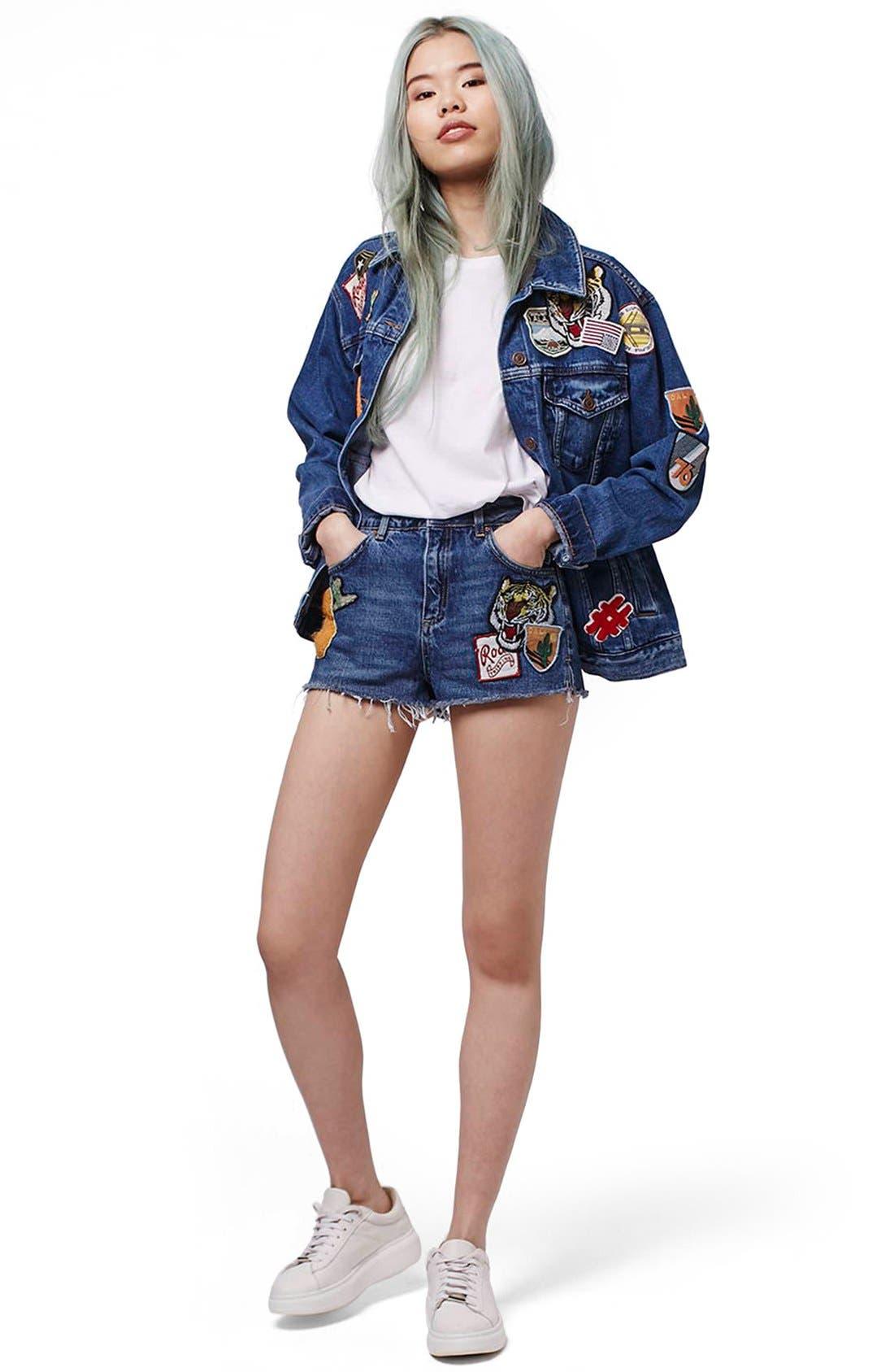 Alternate Image 2  - Topshop Patch Raw Hem High Rise Jean Shorts (Petite)
