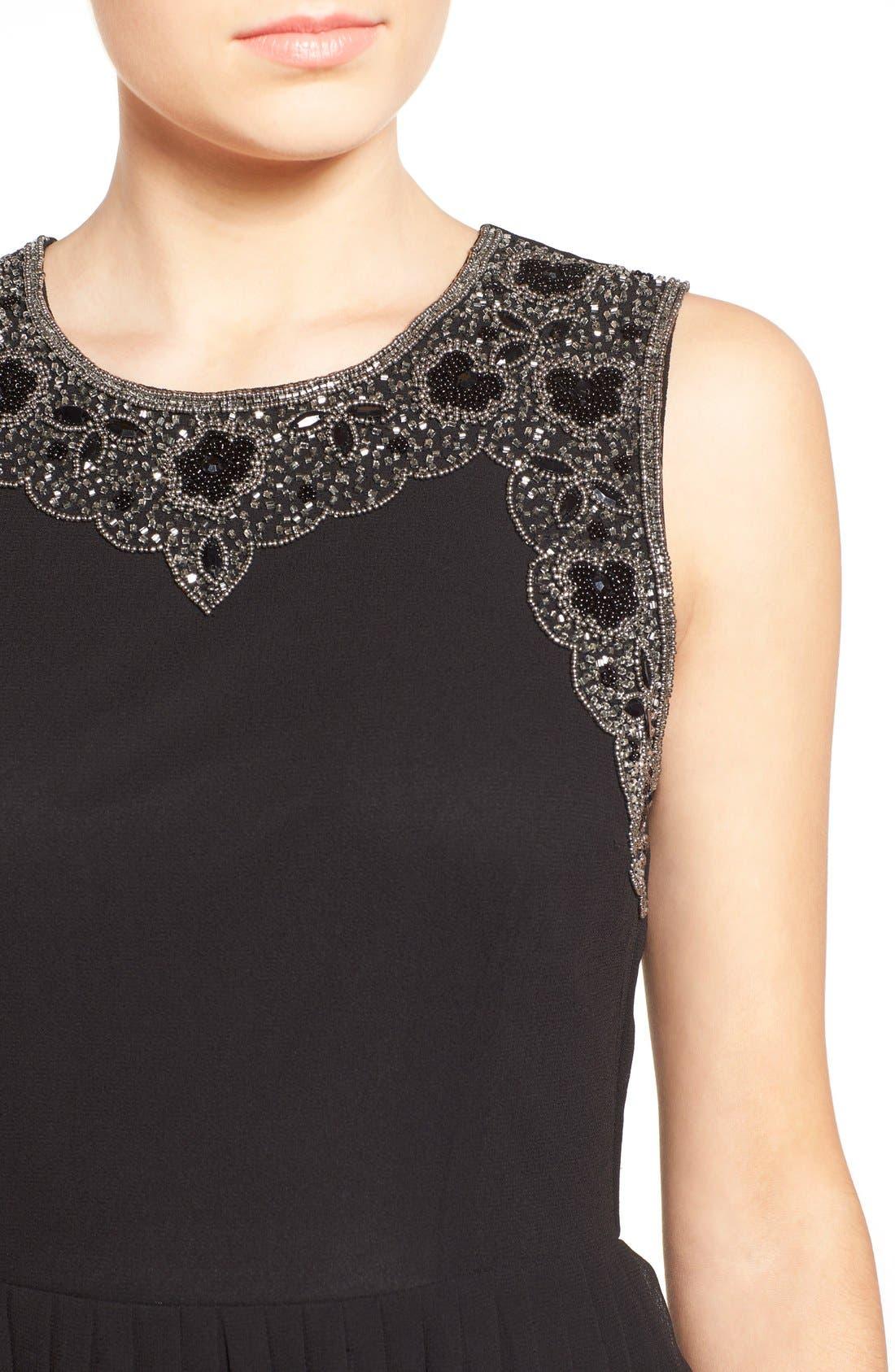 Alternate Image 4  - Lace & Beads 'Becky' Embellished Skater Dress