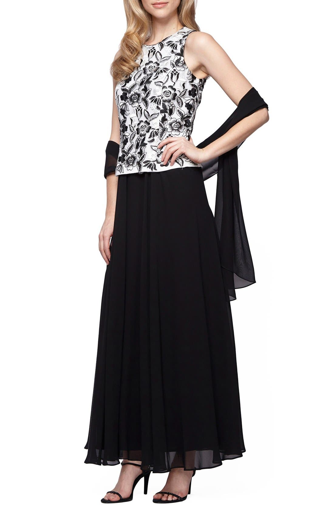 Alternate Image 1 Selected - Alex Evenings Embroidered Chiffon Gown & Shawl (Regular & Petite)