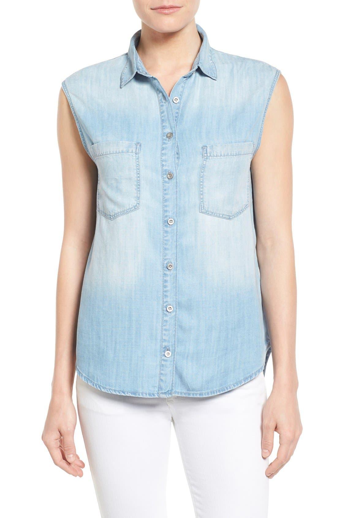 Alternate Image 1 Selected - Mavi Jeans High/Low Lightweight Denim Shirt