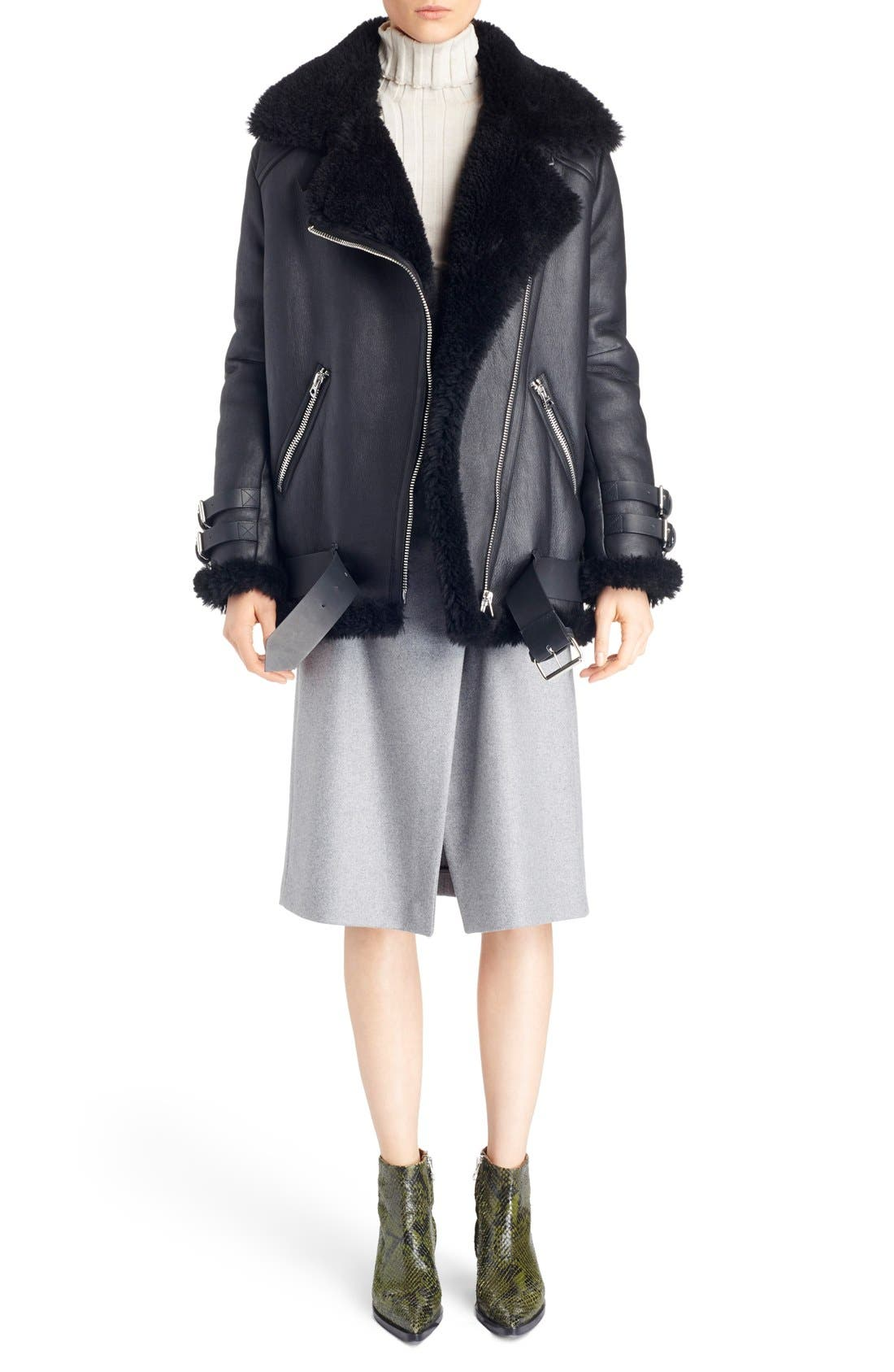Alternate Image 1 Selected - ACNE Studios Velocite Oversized Genuine Shearling Moto Jacket