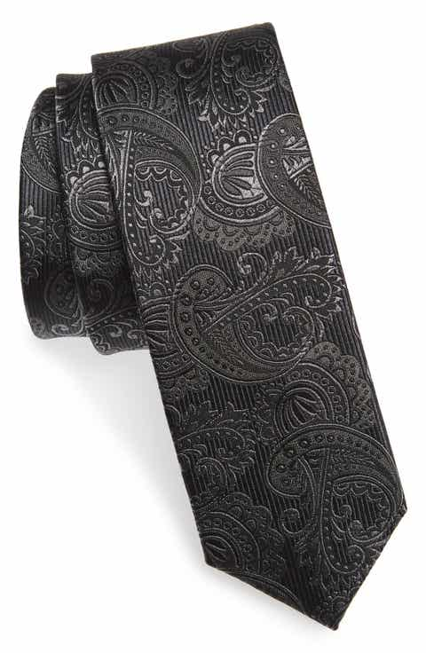 The Tie Bar Textured Paisley Silk Tie