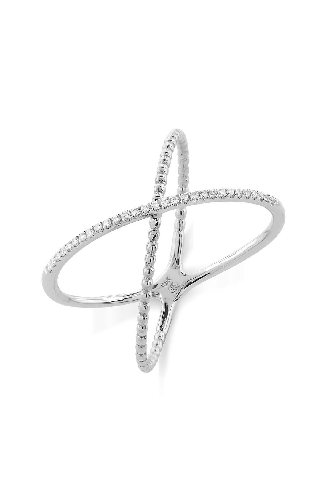 BONY LEVY Stackable Crossover Beaded Diamond Ring