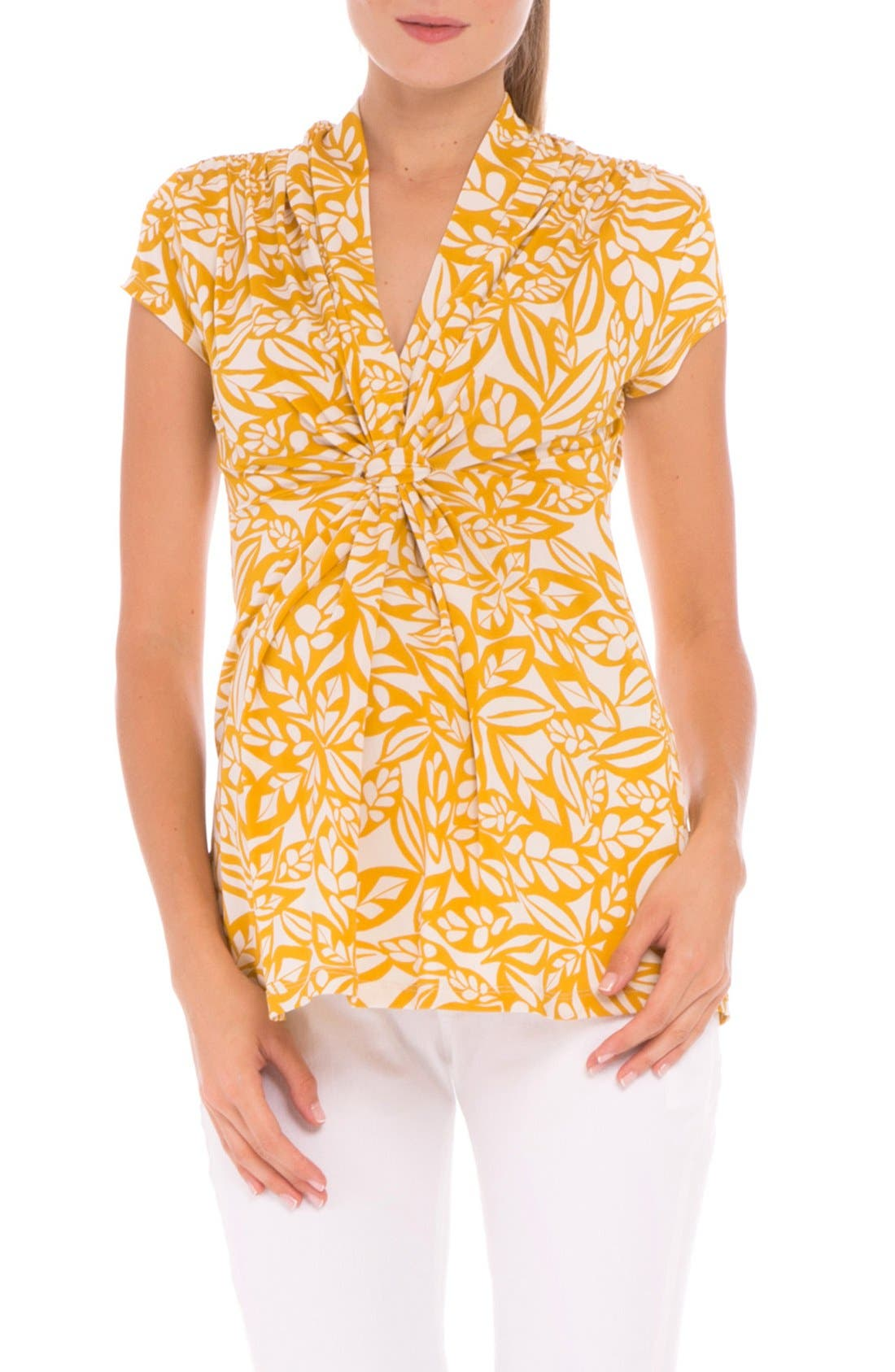 Olian Knotted V-Neck Maternity Top