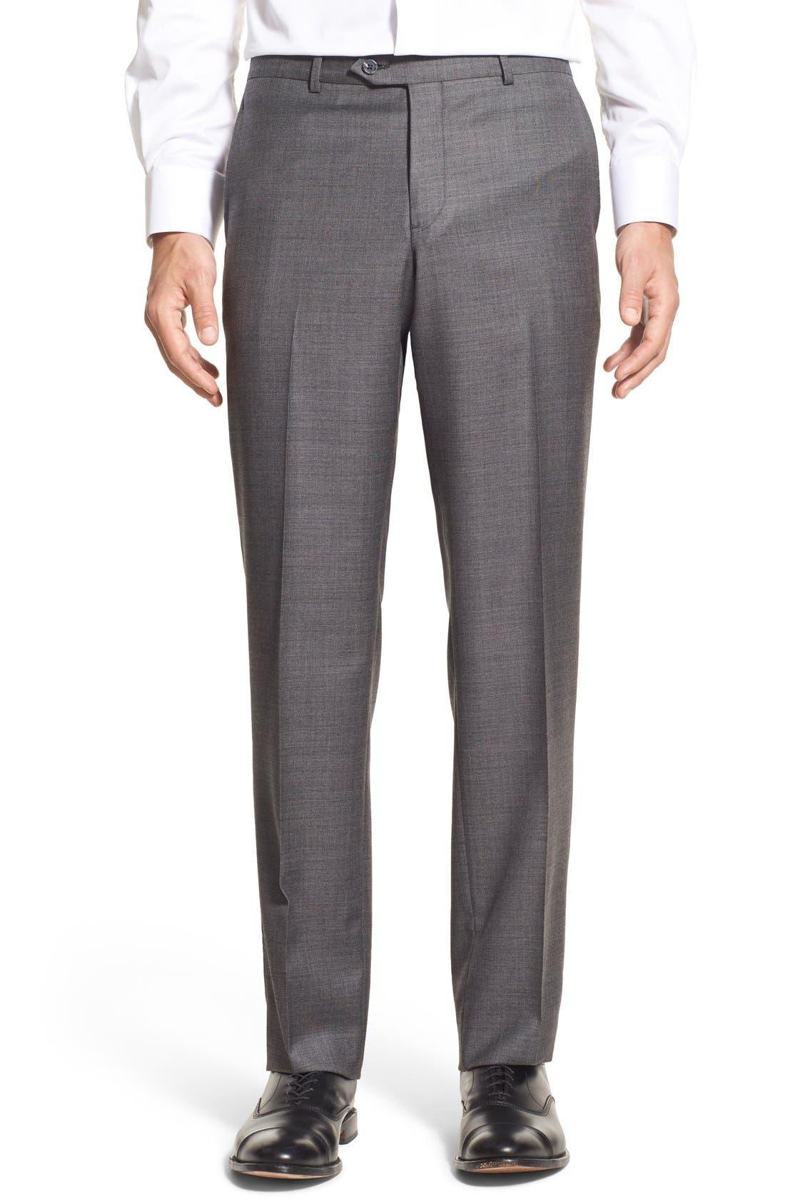 Nordstrom Men's Shop Flat Front Sharkskin Wool Trousers