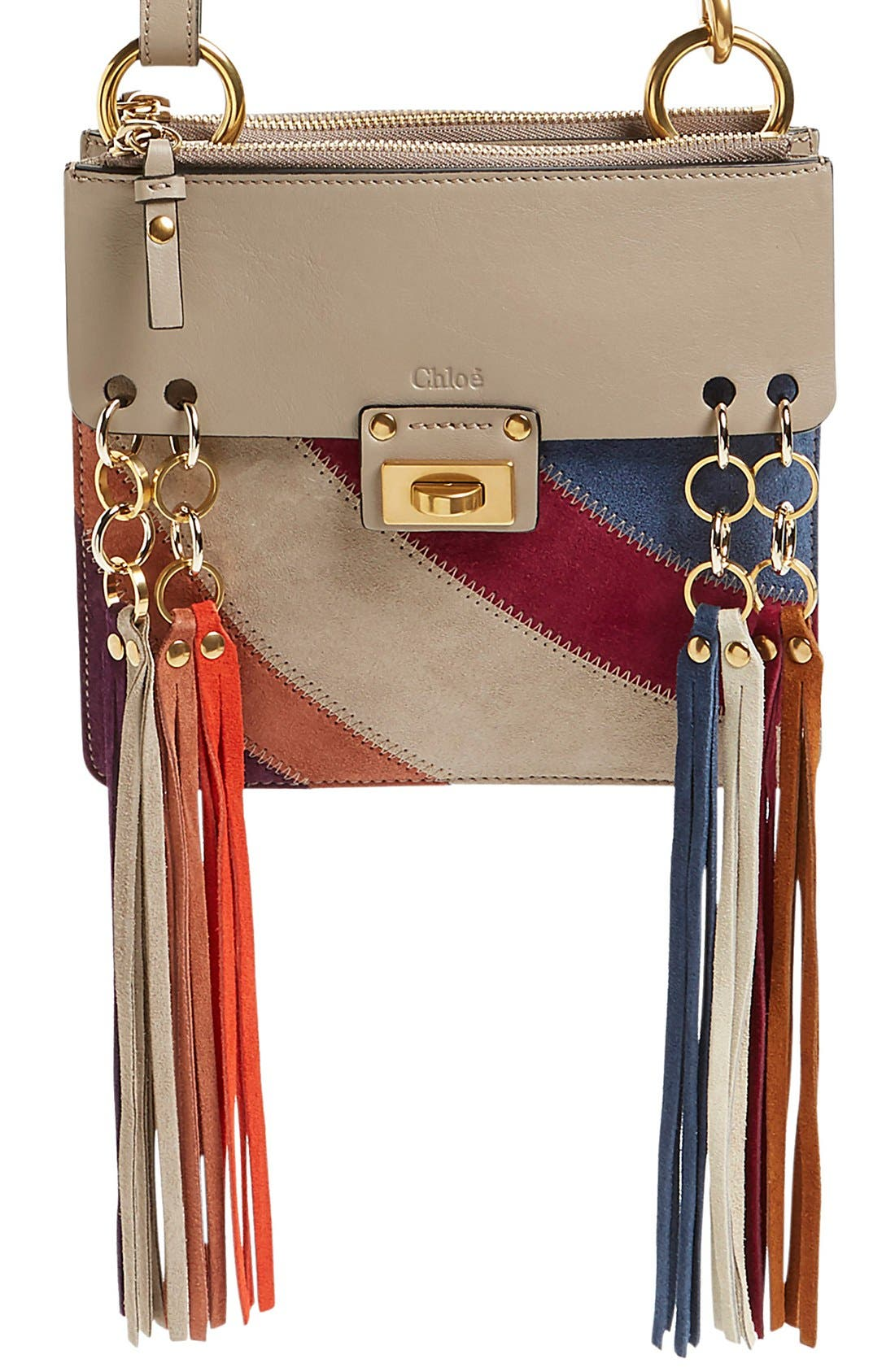 Main Image - Chloé 'Small Jane' Suede Fringe Patchwork Leather Crossbody Bag