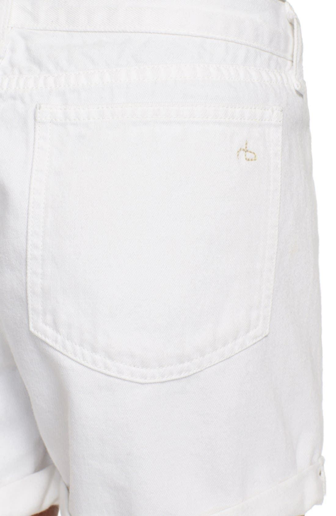 Alternate Image 4  - rag & bone/JEAN 'Carpenter' Cuffed Denim Shorts (Aged Bright White)