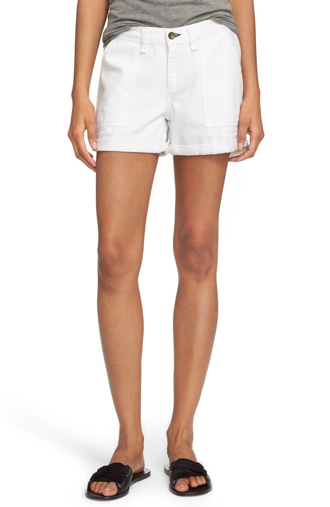Main Image - rag & bone/JEAN 'Carpenter' Cuffed Denim Shorts (Aged Bright White)