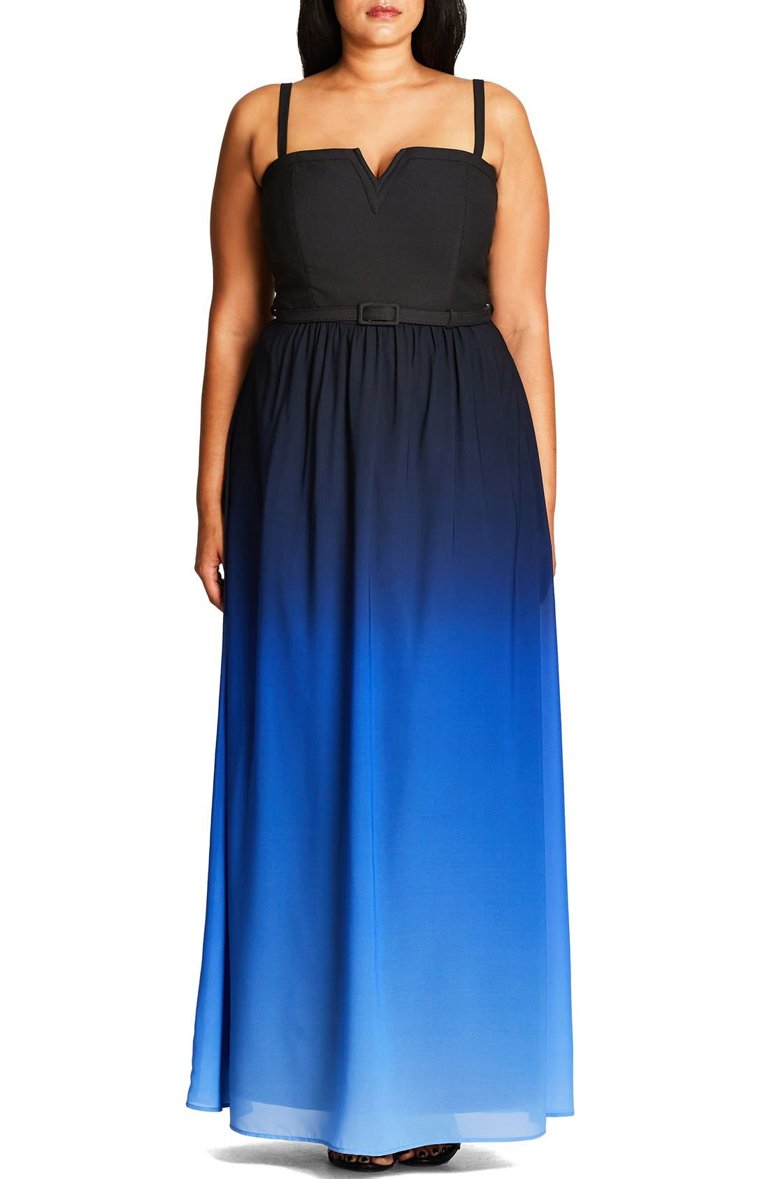 CITY CHIC 'Ombré Queen' Notch Neck Maxi Dress