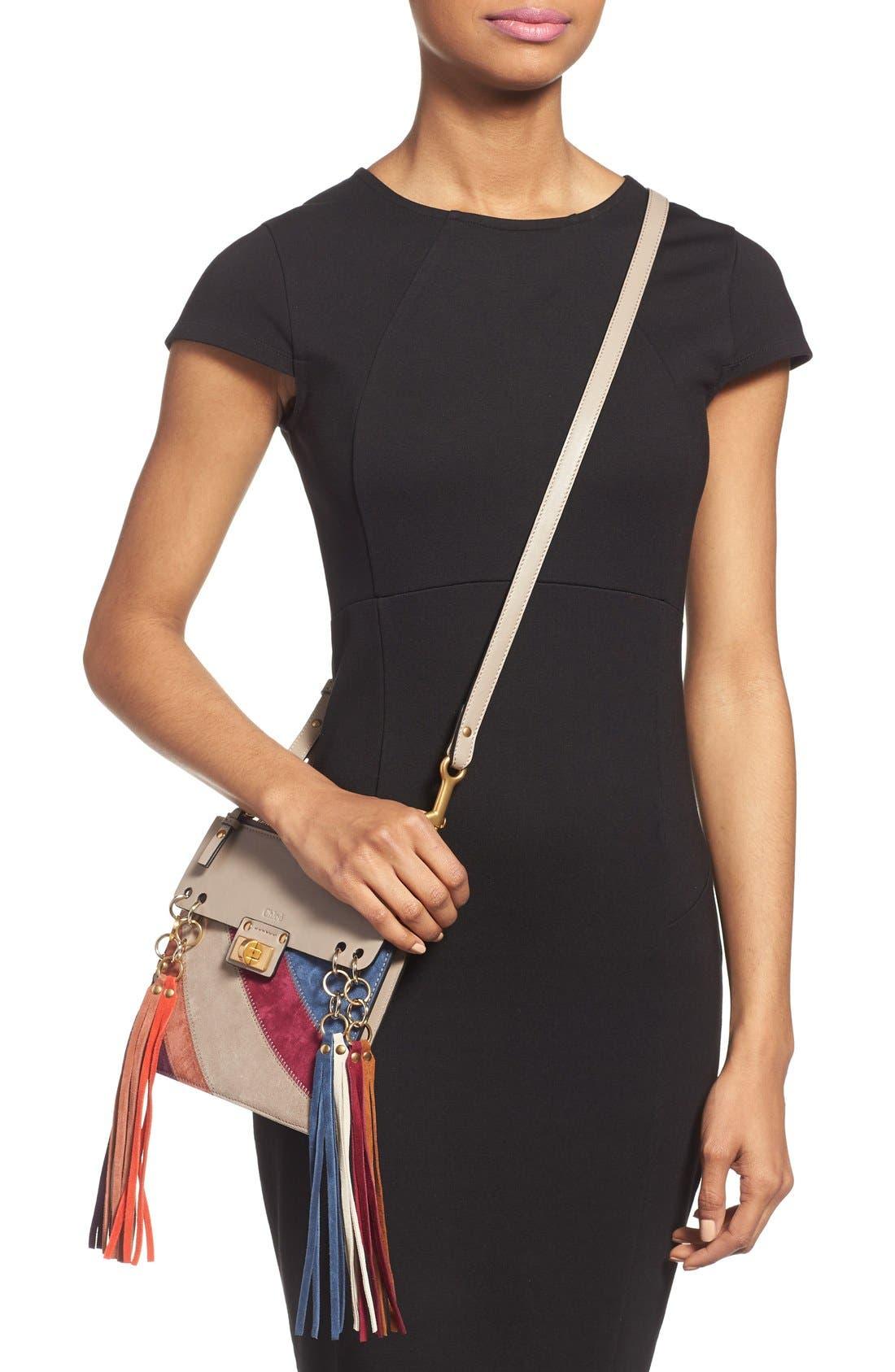 Alternate Image 4  - Chloé 'Small Jane' Suede Fringe Patchwork Leather Crossbody Bag