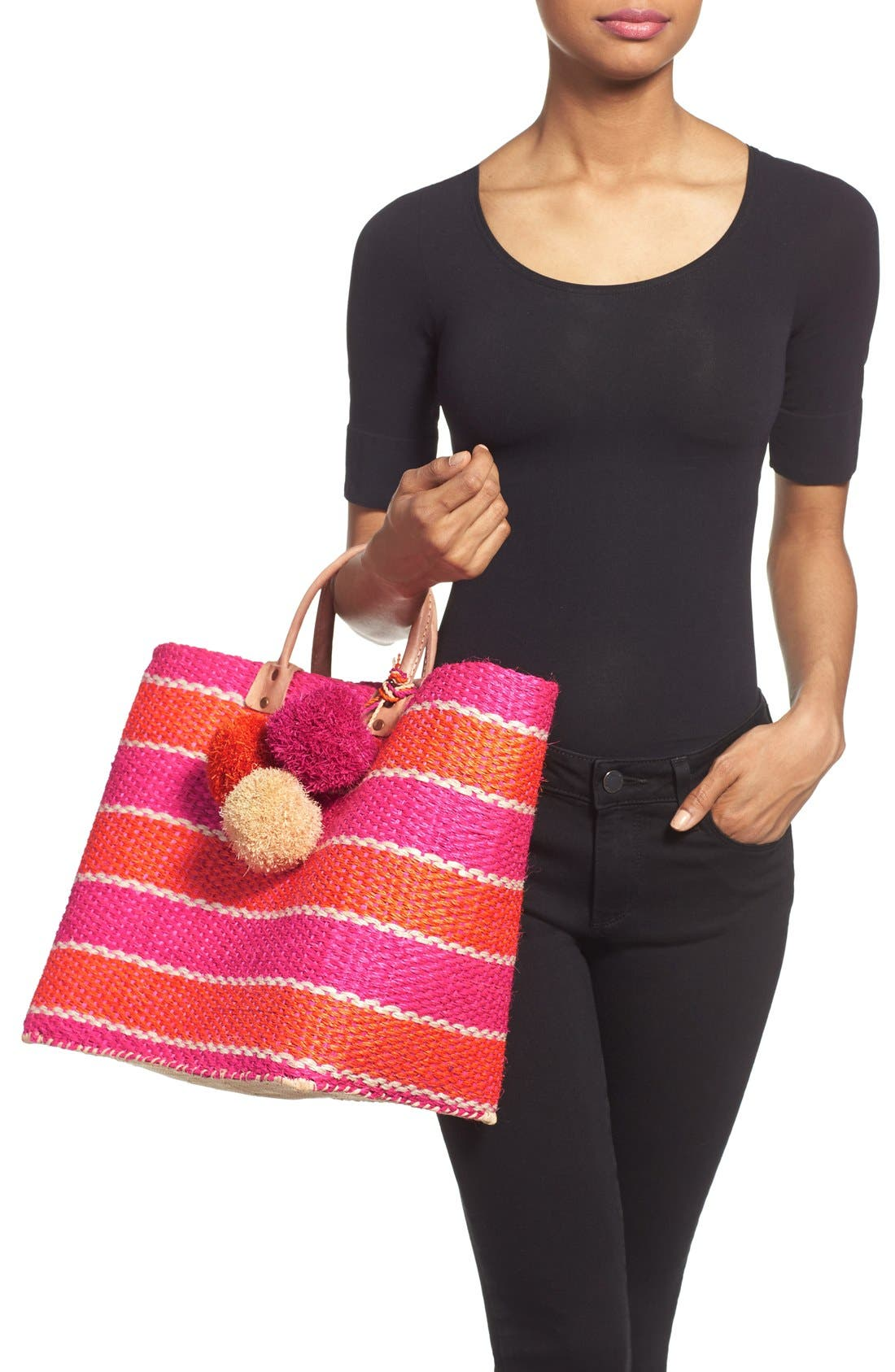 Alternate Image 2  - Mar y Sol 'Capri' Woven Tote with Pom Charms