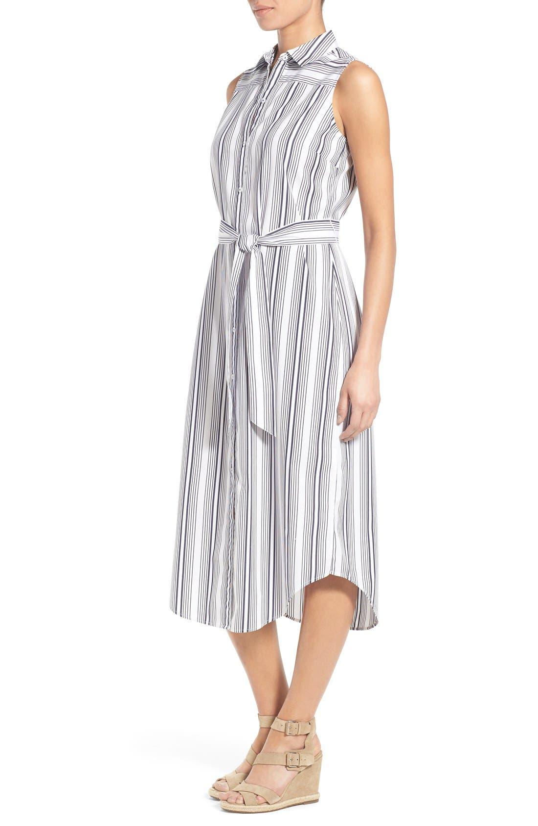 Alternate Image 3  - Foxcroft Stripe Non-Iron Cotton Sleeveless Maxi Shirtdress (Regular & Petite)