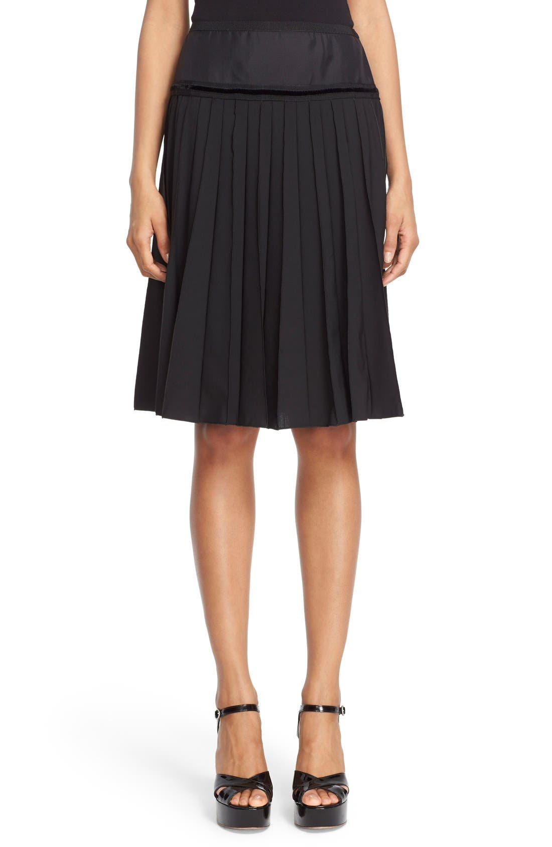 MARC JACOBS Pleated Wool Blend A-Line Skirt