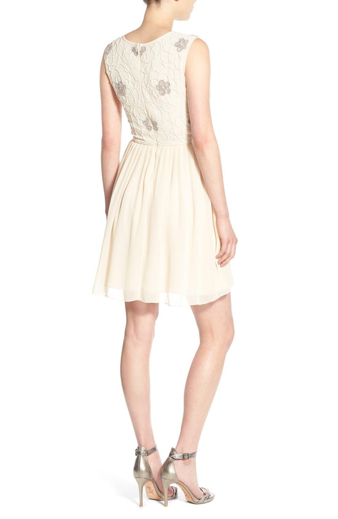 Alternate Image 2  - Lace & Beads 'Sandra' Embellished Skater Dress